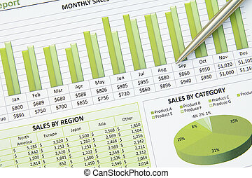 Green Business Financial Chart Graph - A closeup of a...