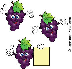 Grape cartoon character - art, background, banner, blank,...