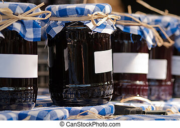 preserving jars - many preserving jars stand side by side...