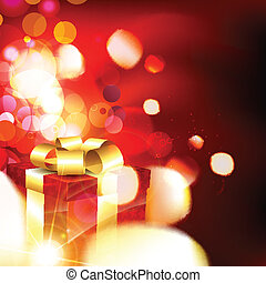 christmas gift box - shiny christmas gift box glowing...