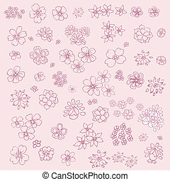 Hand-drawn set of doodles flowers