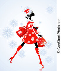 Santa Girl with gifts and shopping