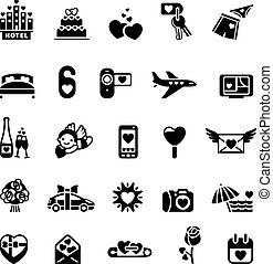 Love icon set, valentine's day objects
