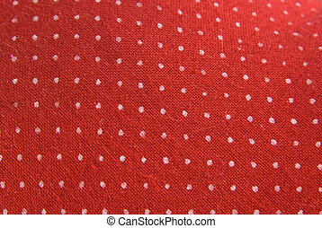 Vintage red fabric with white dots - Retro red cloth with...