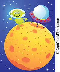 Funny alien - Vector illustration of funny alien