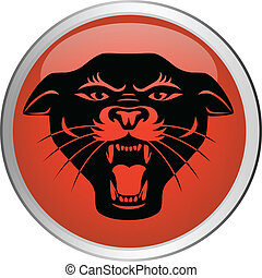 Panther head button - Vector illustration of panther head...