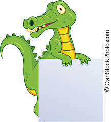 Crocodile with blank sign - Vector illustration of crocodile...