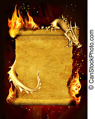 Dragon, fire and scroll of old parchment. Vertical...