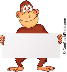 Chimpanzee with blank sign