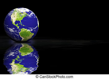 Earth on a black background