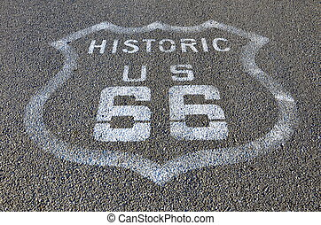 Route 66 marker painted on asphalt