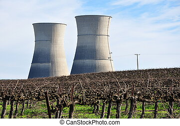 Rancho Seco - Two towers of Rancho Seco nuclear power plant...
