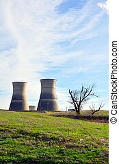 Two towers nuclear plant - Two towers of Rancho Seco nuclear...