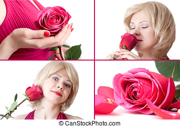 Portraits of beautiful young woman with rose