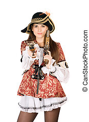nice woman with guns dressed as pirates - Young nice woman...