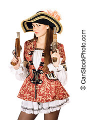 charming woman with guns dressed as pirates - Young charming...