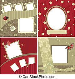 Set of beautiful frames for scrapbooking - Four variants of...