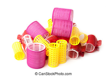 Color Hair curlers over a white background