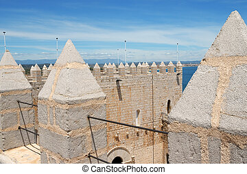 Pope Luna's Castle in Peniscola, Spain - Detail of Pope...