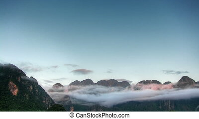 Morning in the mountains time lapse
