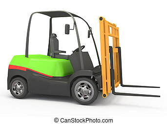 forklift on white background 3d rendered image