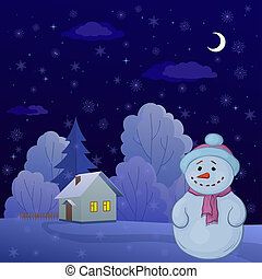 Snowman in a winter forest - Christmas cartoon: snowman on a...
