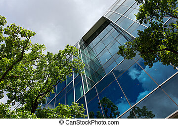 Glass office building - Office building surrounded by alot...