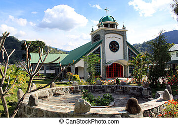 Church - Facade of catholic church in Bontoc, Luzon island