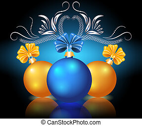 Christmas card with blue and yellow balls