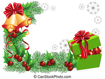 Gift box, bells with red bows and Christmas decorations