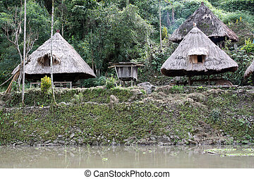 Traditional houses and rice terrases in Batad, near Banaue