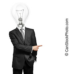 Lamp Head Businessman Showing With Finger - lamp head...