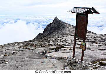 Sign on the way to the summit of mount Kinabalu in Sabah,...