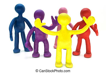 Group of plasticine puppets on white background