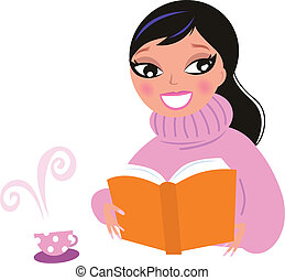 Cute woman in warm pullower drinking coffee while reading book