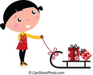 Retro christms Girl with sledge and christmas gifts. Vector cartoon Illustration.