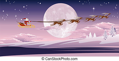 Santa flying in front of winter moon - Santa's sled flying...