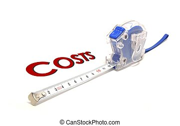 measuring costs - a measuring tape isolated on white...