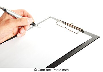 writing a note on a clipboard - businessman holding a...