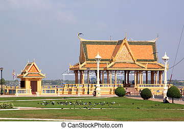 Buddhist temple on the bank of Mekong in Phnom Penh,...