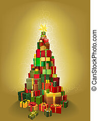 Gold Christmas present tree Illustration - Illustration of a...