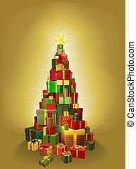 oro, Natale, presente, albero, illustrazione