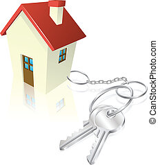 House attached to keys as keyring Concept for new house...