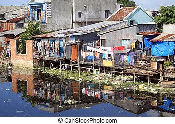 Houses and poverty in fishing village in Nha Trang, Vietnam