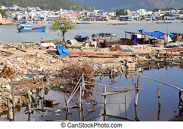 Nha Trang - Ruins, garbige and bay in Nha Trang, Vietnam