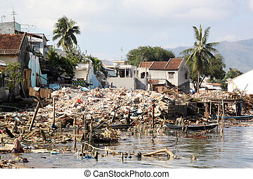 Poverty and ruins on the sea shore in Nha Trang, Vietnam