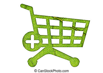Shopping Cart  sign made of leaves