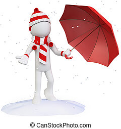 Seasons. Winter. Man in the snow with an umbrella hat scarf...