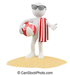 Seasons. Summer. Man on the beach with a ball a red and...