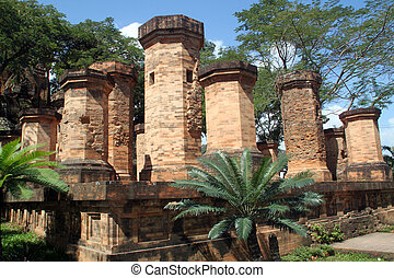 Columns - Brick columns of cham temple in Nha Trang, Vietnam